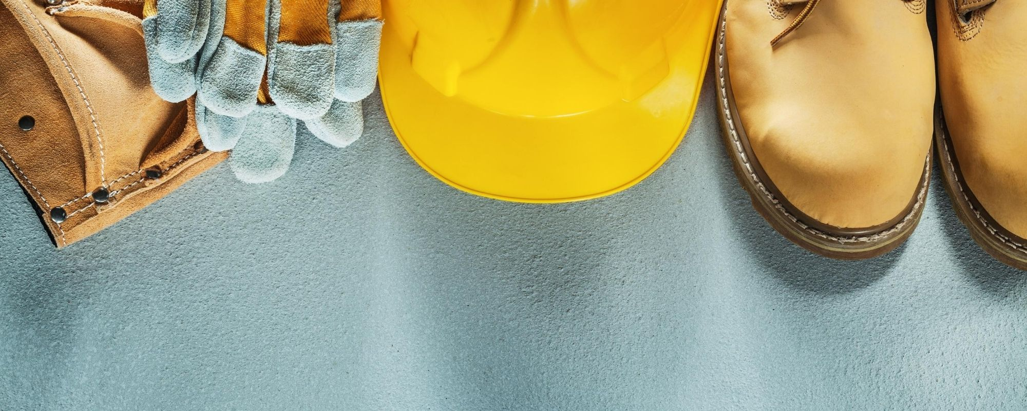 Safety Equipment on Blue Background